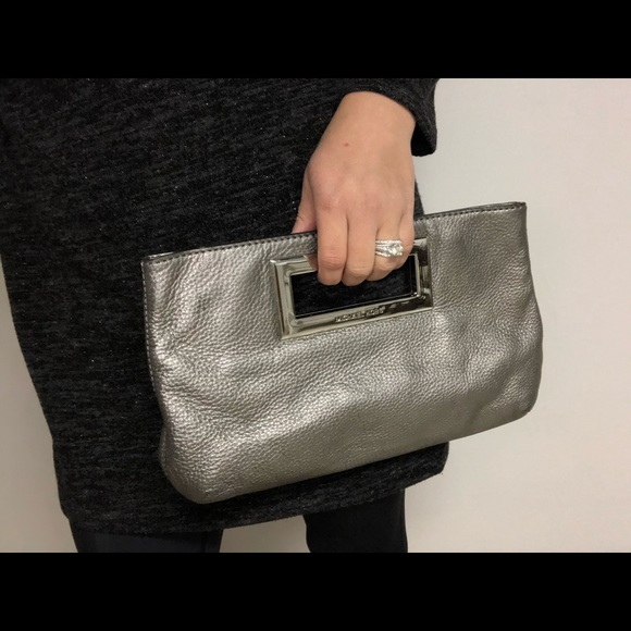 MICHAEL Michael Kors Handbags - MICHAEL Michael Kors silver/metallic gray clutch